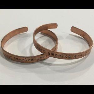 2 Keep America Great copper cuff bracelets